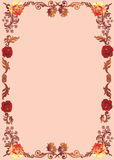 Brown floral frame with roses Stock Photography