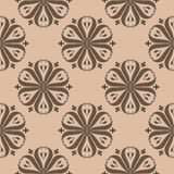 Brown floral seamless pattern on beige background Stock Photo