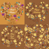 Brown floral patterns set Stock Photography