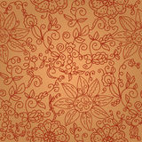 Brown floral seamless ornate pattern Royalty Free Stock Images