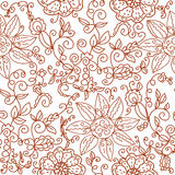 Brown floral seamless pattern. With leaves and big flowers Stock Images