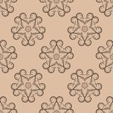 Brown floral seamless pattern on beige background Stock Photography