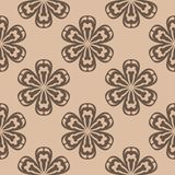 Brown floral seamless pattern on beige background Royalty Free Stock Images