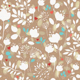 Brown floral seamless pattern with white flowers Royalty Free Stock Images