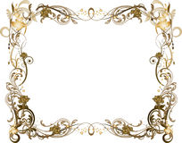 Brown florido y marco de oro Foto de archivo libre de regalías