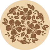 Brown flower ornament on a beige background. Royalty Free Stock Images