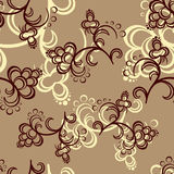 Brown Flower Pattern. Brown and beige flowers on the light-brown background. Vector illustration Stock Photography