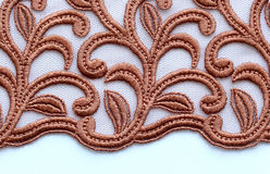 Brown flowers lace material texture macro shot Stock Photography