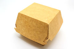 A brown food box, packaging for hamburger, lunch, fast food, burger and sandwich, isolated on white background stock photo