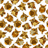 Brown forest owls seamless pattern Stock Images