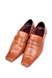 Brown formal shoes stock photos