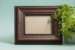 Brown fotografii rama z rośliną fotografia stock