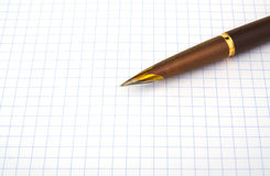 Brown fountain pen on notebook Stock Images