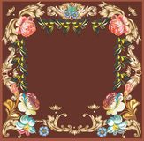 Brown frame with four big flowers Stock Photos