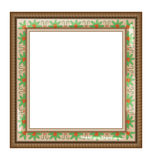 Brown frame with holly isolated on white Royalty Free Stock Photo