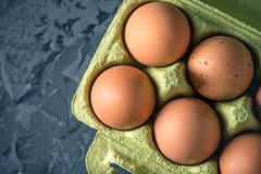 Fresh farm eggs in green tray, on beautiful dark background. Home eco-friendly products. Brown fresh farm eggs in green tray, on beautiful dark background. Home Stock Photos