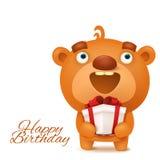Brown funny emoji teddy bear with gift box. Happy birthday invitation card Stock Photography