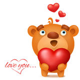 Brown funny emoji teddy bear with red heart. Valentines day invitation card Stock Images