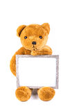 Brown fuzzy teddy bear holding a grey frame Stock Image