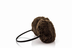 Brown fuzzy winter ear muff . Stock Photo