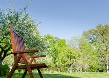 Brown garden chair spring garden tree background Royalty Free Stock Photos