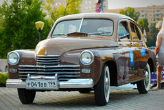 Brown GAZ Pobeda (vintage USSR car) royalty free stock photo