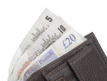 Brown-Geldbörse mit Anmerkungen des britischen Pfunds Stockfotos