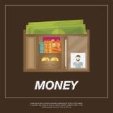 Brown-Geldbörse mit etwas Geld Stockfoto