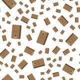 Brown-Geldbörse mit etwas Geld Flache Illustration ENV 10 des nahtlosen Musters des Vektors Stockfotografie