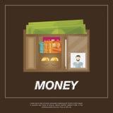Brown-Geldbörse mit etwas Geld von Stockbilder
