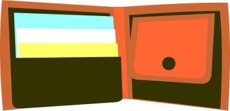 Brown-Geldbörse mit Visitenkarten Stockfoto