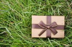 Brown-Geschenkbox auf grünem Gras Stockfoto