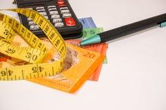 Brown-Geschenkbox auf Malaysia-Anmerkungen mit Taschenrechner und Maßband Lizenzfreies Stockfoto
