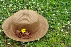Brown gesponnener Hut auf dem Gras Stockbilder
