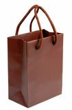 Brown gift bag 1. Brown (chocolate color) shopping bag isolated over white background Stock Photography