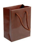 Brown gift bag 2. Brown (chocolate color) shopping bag isolated over white background Stock Photo