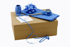 Brown gift box. With wrapping materials Stock Photo