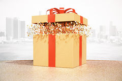 Brown gift box city background. Desktop with brown gift box on city background. 3D Rendering royalty free illustration
