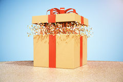 Brown gift box on desktop. Desktop with brown gift box on blue background. 3D Rendering Stock Photos