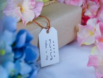 Brown gift box with greeting cards on Mother`s Day stock image