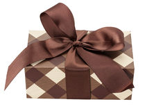 Brown gift box isolated on the white background Royalty Free Stock Photography