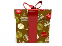 Brown Gift box with ribbon bow 3d illustration rendering Stock Images