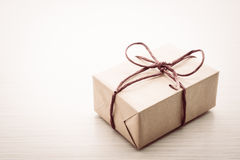 Brown gift box Royalty Free Stock Images