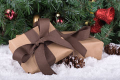 Brown Gift Boxes Royalty Free Stock Photos