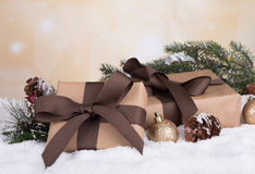 Brown Gift Boxes Stock Photo