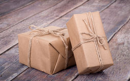Brown Gift Boxes Stock Photos