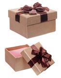 Brown gift cardboard present box isolated Stock Photo
