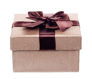 Brown gift cardboard present box isolated Stock Photography
