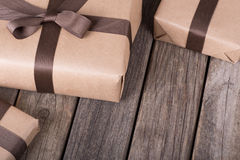 Brown Gift Presents Royalty Free Stock Image