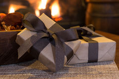 Brown Gift Presents Stock Image